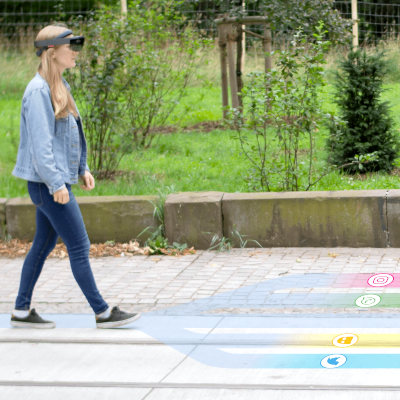 Walk The Line: Leveraging Lateral Shifts of the Walking Path as an Input Modality for Head-Mounted Displays