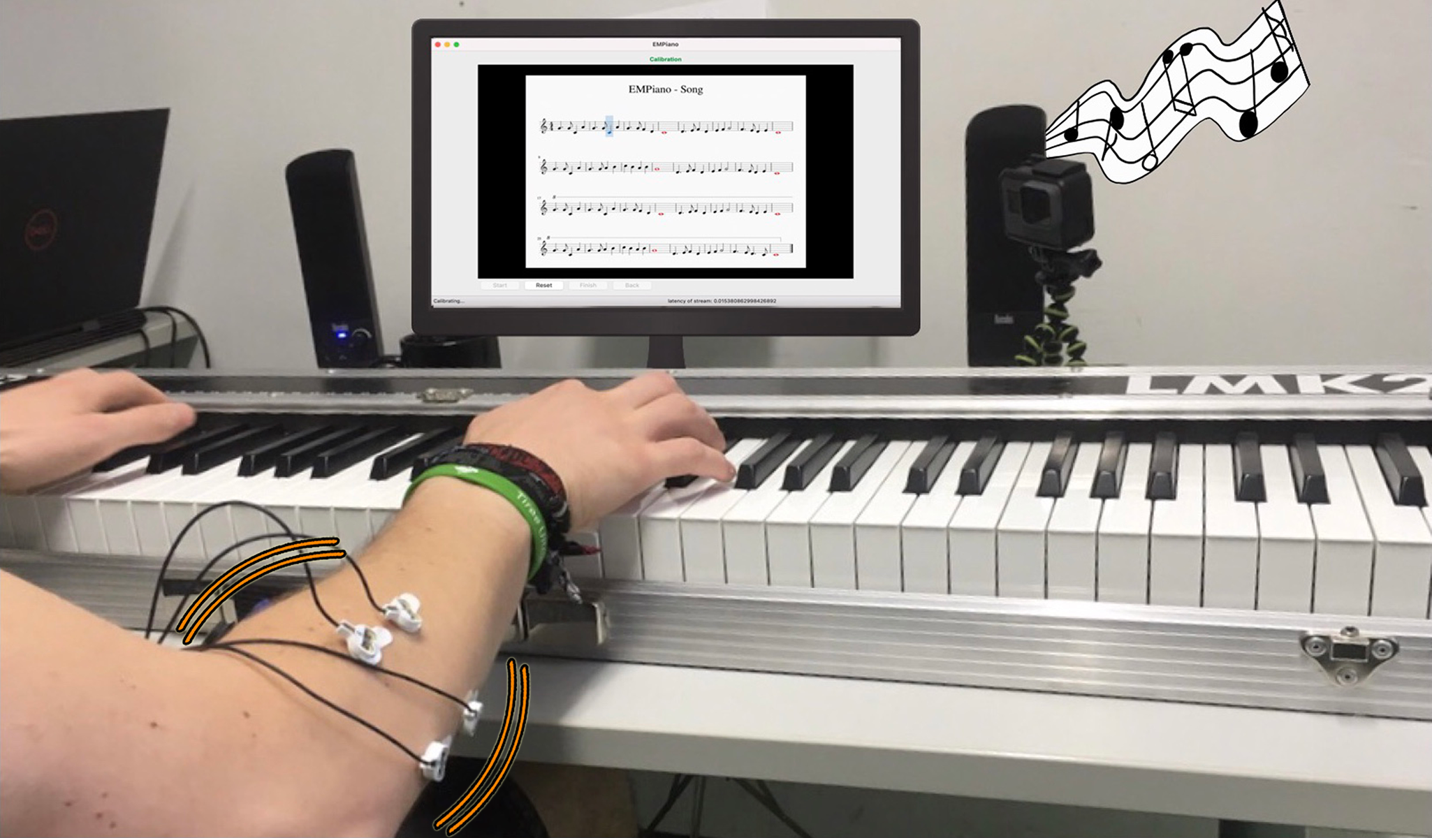 EMPiano: Electromyographic Pitch Control on the Piano Keyboard