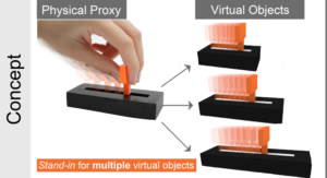 Visuo-haptic Illusions for Linear Translation and Stretching using Physical Proxies in Virtual Reality